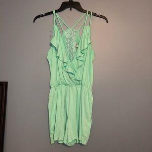 Charlotte russe green M romper lace open bright